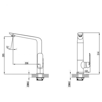 Kara Matt Blk Sink Mixer