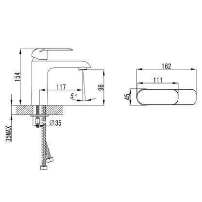 Kara Matt Blk Basin mixer