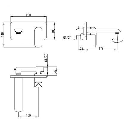 Kara Matt Blk/RG Wall Basin Mixer