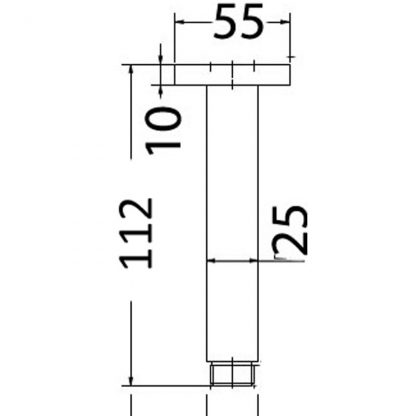 Ceiling 110mm Square Shower Arm